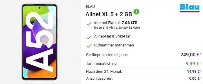 Samsung Galaxy A52 zum Blau Allnet XL bei DeinHandy
