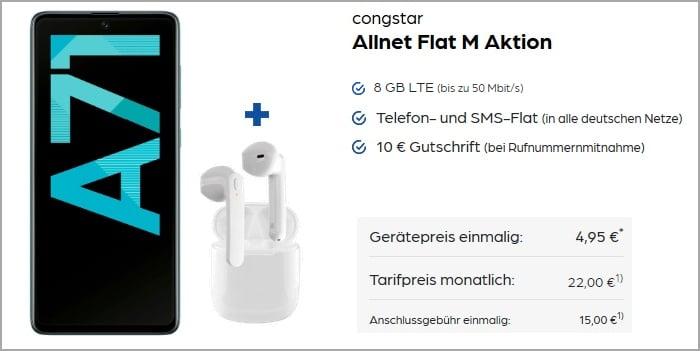 Samsung Galaxy A71 mit SkyPods Lite zur congstar Allnet Flat M More4More-Aktion bei Preisboerse24
