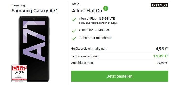 Samsung Galaxy A71 mit otelo Allnet-Flat Go bei DeinHandy