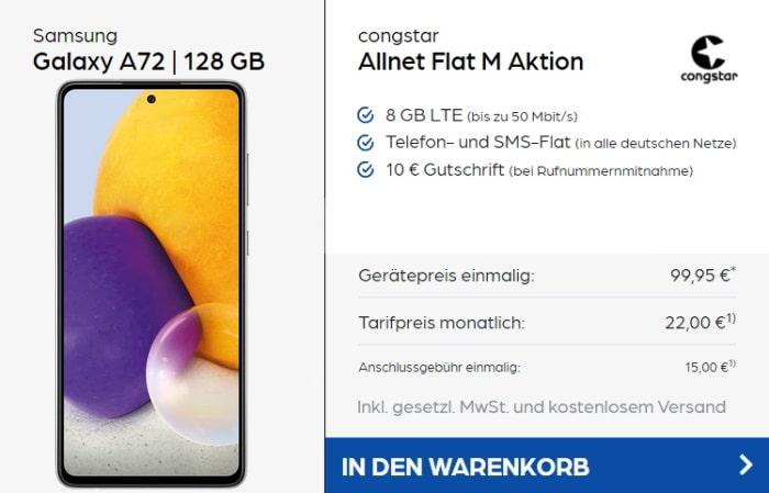 Samsung Galaxy A72 + congstar Allnet Flat M (Aktion) bei Preisboerse24
