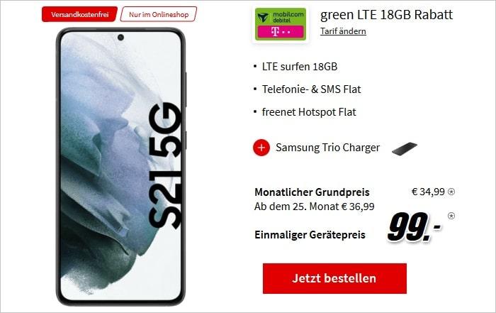 Samsung Galaxy S21 5G mit Samsung Trio Charger zum md green LTE 18 GB im Telekom-Netz bei MediaMarkt