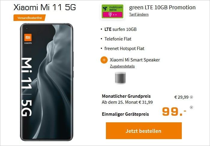 Xiaomi Mi 11 mit Speaker als Zugabe zum md green LTE 10 GB im Telekom-Netz bei Saturn