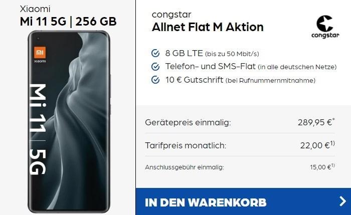 Xiaomi Mi 11 zur congstar Allnet-Flat M bei Preisboerse24