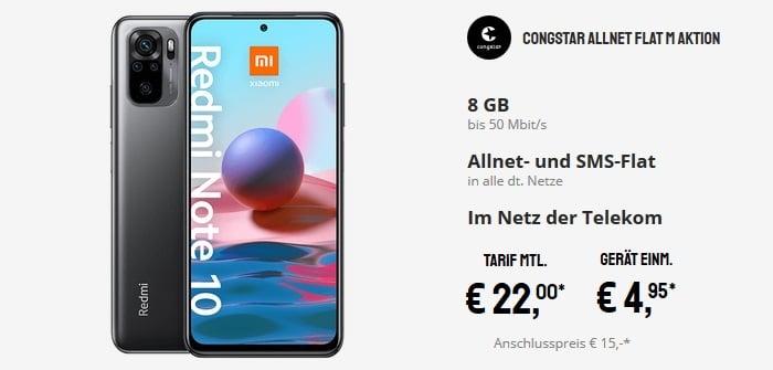 Xiaomi Redmi Note 10 mit congstar Allnet Flat M bei Sparhandy