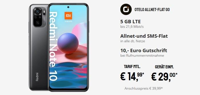 Xiaomi Redmi Note 10 mit otelo Allnet-Flat Go bei Sparhandy