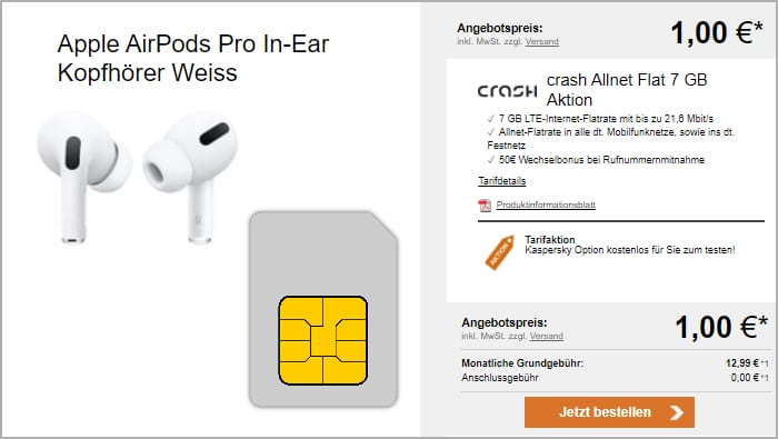 crash Allnet Flat mit AirPods Pro bei LogiTel