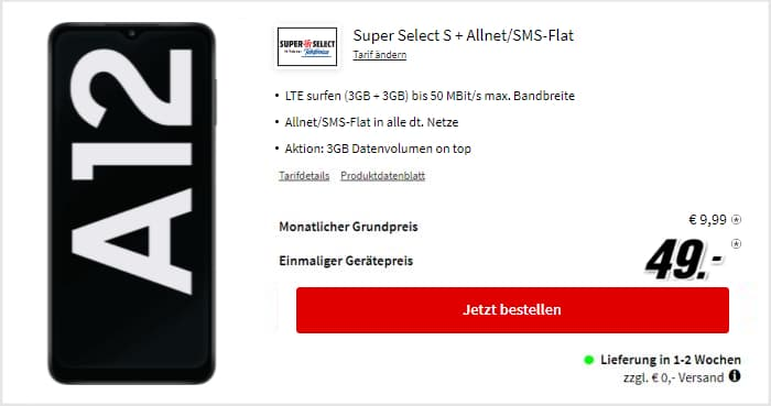 Samsung Galaxy A12 Super Select S bei MediaMarkt