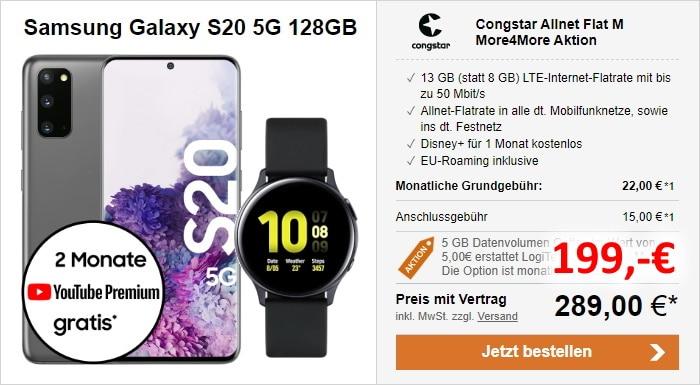 Samsung Galaxy S20 5G + Samsung Galaxy Watch Actrive2 (44mm) + congstar Allnet Flat M Aktion bei LogiTel