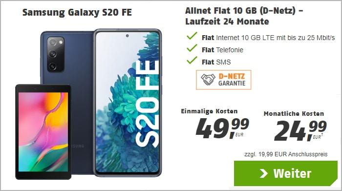 Samsung Galaxy S20 FE + Samsung Galaxy Tab A 8.0 WiFi + klarmobil Allnet Flat bei klarmobil