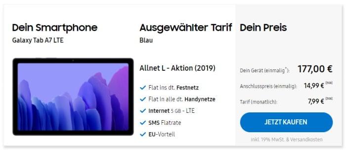 Samsung Galaxy Tab A7 LTE + Blau Allnet L im Samsung Online-Shop