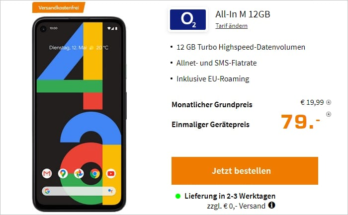 Google Pixel 4a 5G mit o2 Blue All-In M 12 GB bei Saturn