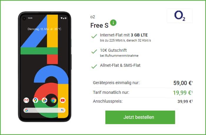 Google Pixel 4a o2 Free S Deinhandy