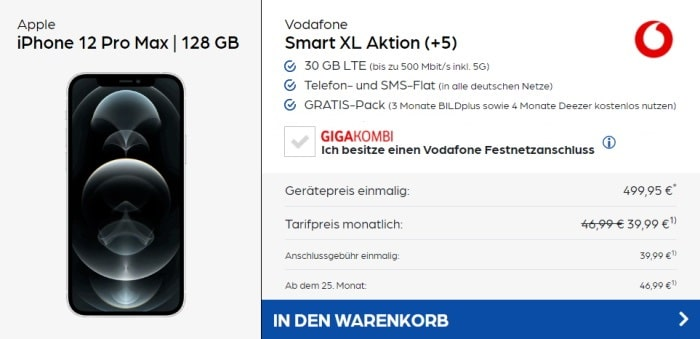 iPhone 12 Pro Max + Vodafone Smart XL bei Preisboerse24 AG