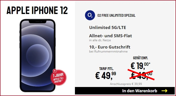 iPhone 12 mit o2 Free Unlimited bei Sparhandy