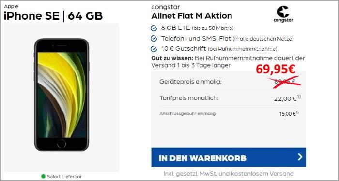 iPhone SE (2020) + congstar Allnet Flat M More4More-Aktion bei Preisboerse24