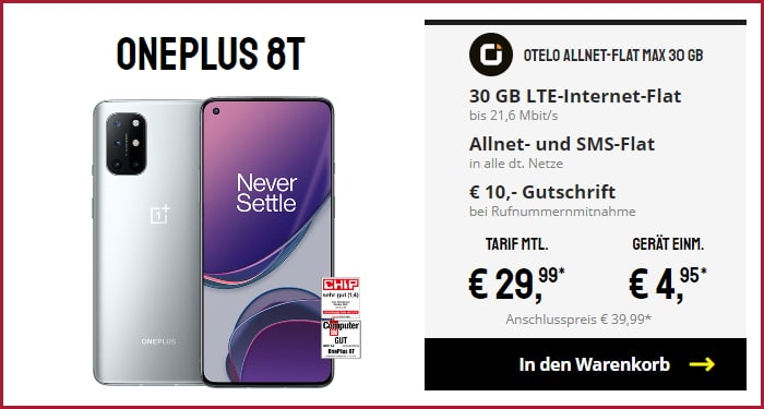 OnePlus 8T + otelo Allnet-Flat Max bei sparhandy