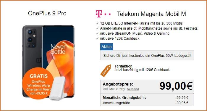 OnePlus 9 Pro + Ladegerät + Cashback + Telekom MagentaMobil M bei LogiTel
