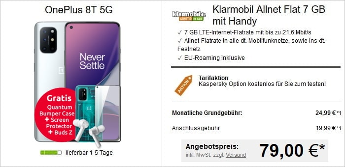 OnePlus 8T 5G mit Schutzzubehör zur klarmobil Allnet Flat 7 GB LTE im Vodafone-Netz
