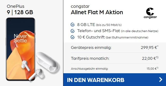 OnePlus 9 + OnePlus Buds Z + congstar Allnet Flat M bei Preisboerse24