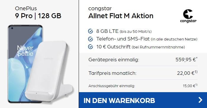OnePlus 9 Pro + OnePlus Warp Charge 50W Wireless Charger + congstar Allnet Flat M bei Preisboerse24