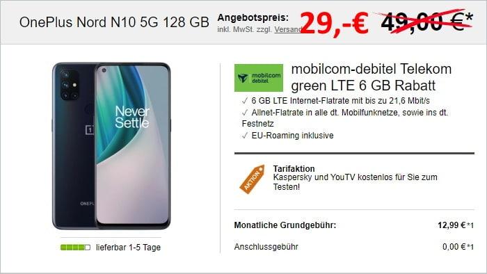 OnePlus Nord N10 5G + mobilcom-debitel green LTE (Telekom-Netz) bei LogiTel