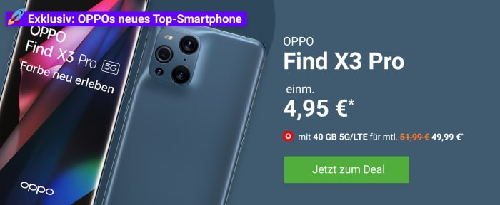 Oppo Find X3 Pro + Vodafone Smart XL bei DeinHandy