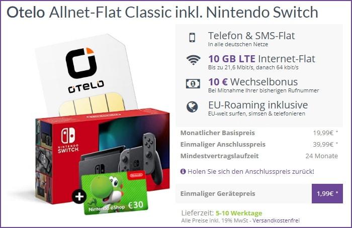 otelo Allnet Flat Classic + Nintendo Switch (2019) + 30 € eShop Guthaben bei FLYmobile