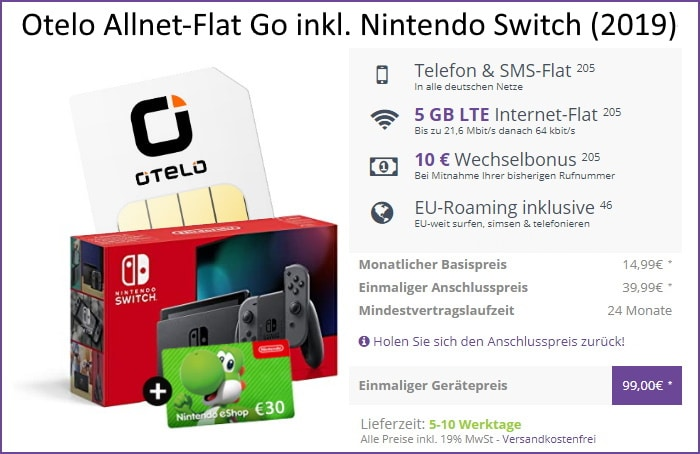 otelo Allnet Flat Go + Nintendo Switch (2019) + 30 € Nintendo eShop Guthaben bei FLYmobile