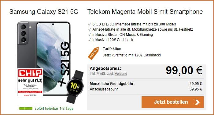 Samsung Galaxy S21 mit Cashback und Galaxy Watch Active 2 im MagentaMobil S bei LogiTel