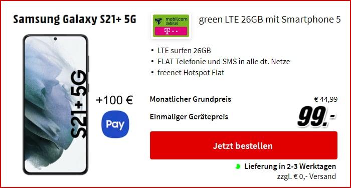 Galaxy S21 Plus + 100 € Samsung Pay Guthaben mit md green LTE im Telekom-Netz bei MediaMarkt