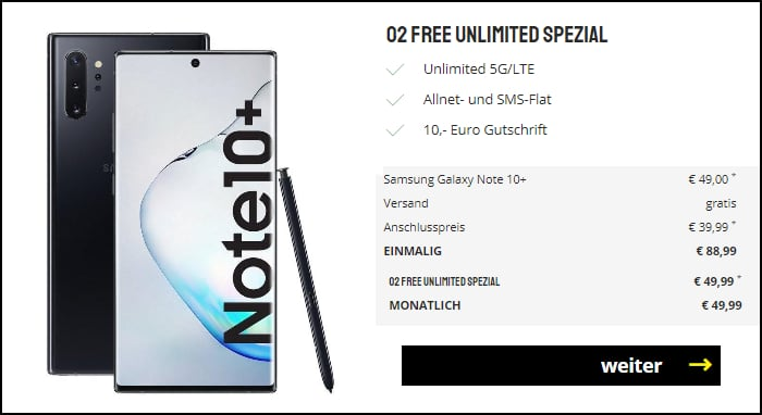 Samsung Galaxy Note 10 Plus mit o2 Free Unlimited Smart bei Sparhandy