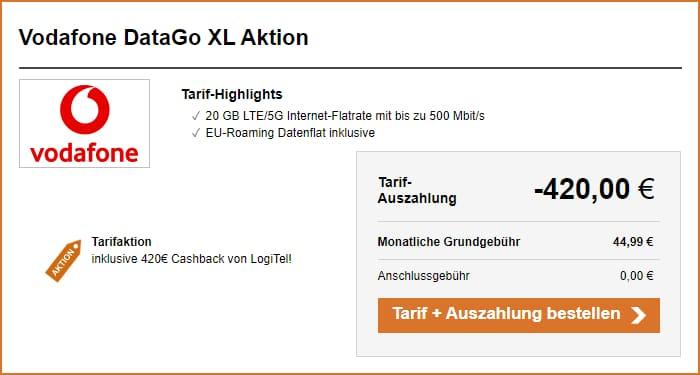 Vodafone DataGo XL mit 420 Euro Cashback bei LogiTel