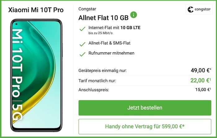 Xiaomi Mi 10T Pro + congstar Allnet-Flat M 10GB bei DeinHandy