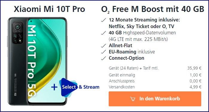 Xiaomi Mi 10T Pro inkl. 12 Monate o2 Select & Stream + o2 Free M Boost bei o2 Online