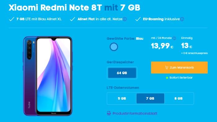 Redmi Note 8T mit Blau Allnet L 7 GB LTE bei Blau