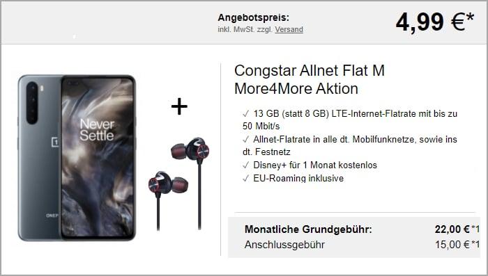 OnePlus Nord + Bullets Congstar 8 GB Logitel