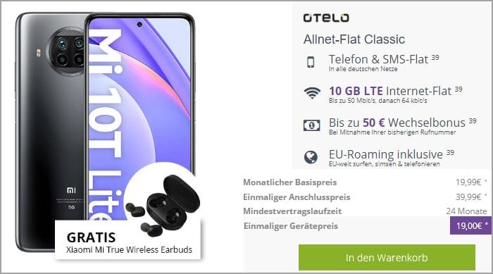 Xiaomi Mi 10T Lite + Xiaomi Mi True Wireless Earbuds Basic 2 + otelo Allnet Flat Go bei FLYmobile
