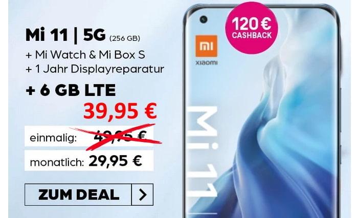 Xiaomi Mi 11 5G mit Zugaben und Cashback zum Telekom MagentaMobil S bei Preisboerse24