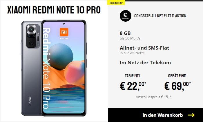 Xiaomi Redmi Note 10 Pro + congstar Allnet Flat M bei Sparhandy