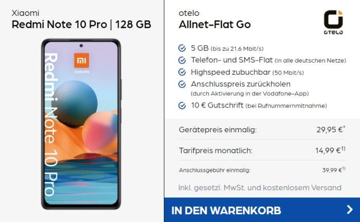 Xiaomi Redmi Note 10 Pro + otelo Allnet Flat Go bei Preisboerse24
