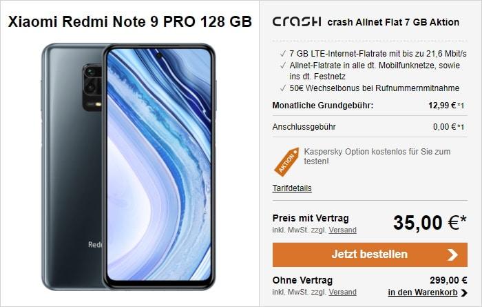 Xiaomi Redmi Note 9 Pro mit crash Allnet Flat und 7 GB LTE bei LogiTel