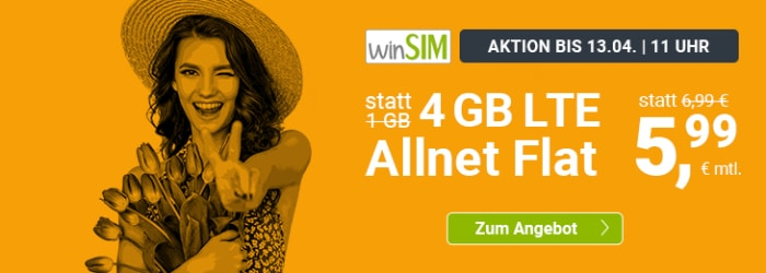 winSIM LTE All Aktionstarif 4 GB für 5,99 € monatlich