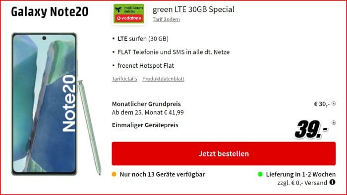Samsung Galaxy Note 20 zum green LTE 30 GB im Vodafone-Netz bei MediaMarkt
