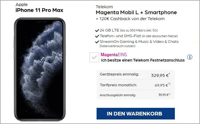 Apple iPhone 11 Pro Max mit Telekom MagentaMobil L bei Preisboerse24