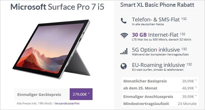Microsoft Surface Pro 7 i5 mit Vodafone Smart XL bei FLYmobile