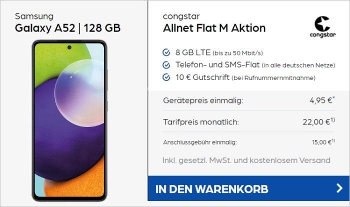 Samsung Galaxy A52 + congstar Allnet Flat M (Aktion) bei Preisboerse24