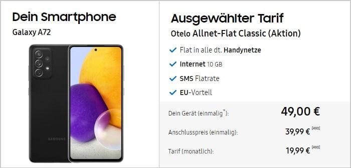 Samsung Galaxy A72 + otelo Allnet Flat Go bei Samsung