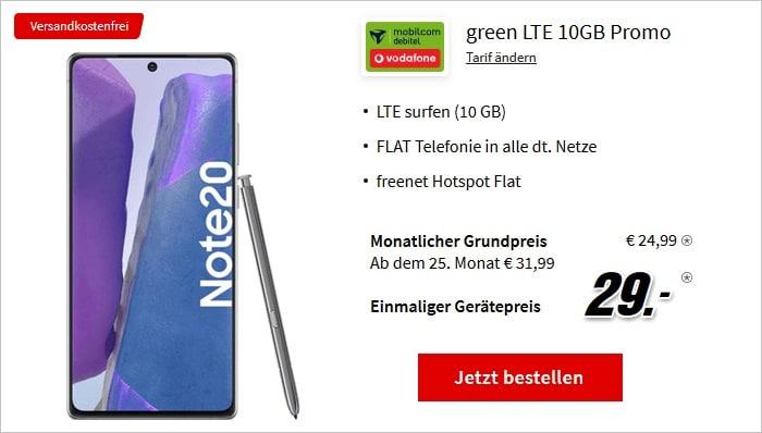 Samsung Galaxy Note20 mit md green LTE 10 GB im Vodafone-Netz bei MediaMarkt