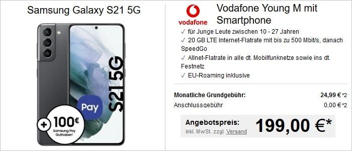 Samsung Galaxy S21 mit Samsung Pay zum Vodafone Young M bei LogiTel