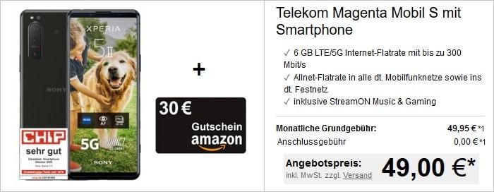 Sony Xperia 5 II mit Amazon-Gutschein zum Telekom MagentaMobil S bei LogiTel